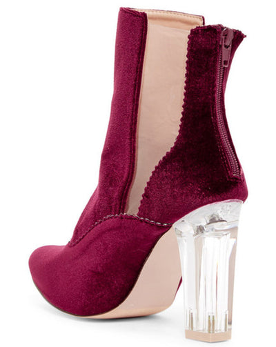 Francesca08 Burgundy Pointed Toe Dual Clear Panel Velvet Ankle Boot - Wholesale Fashion Shoes