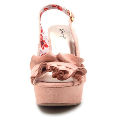 Clemence248x Blush Ruffled Open Toe Slingback Wedge - Wholesale Fashion Shoes