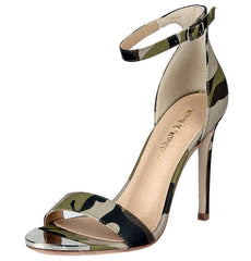 CLIFF01 CAMOUFLAGE METALLIC TOE CROSS STRAP STILETTO HEEL - Wholesale Fashion Shoes
