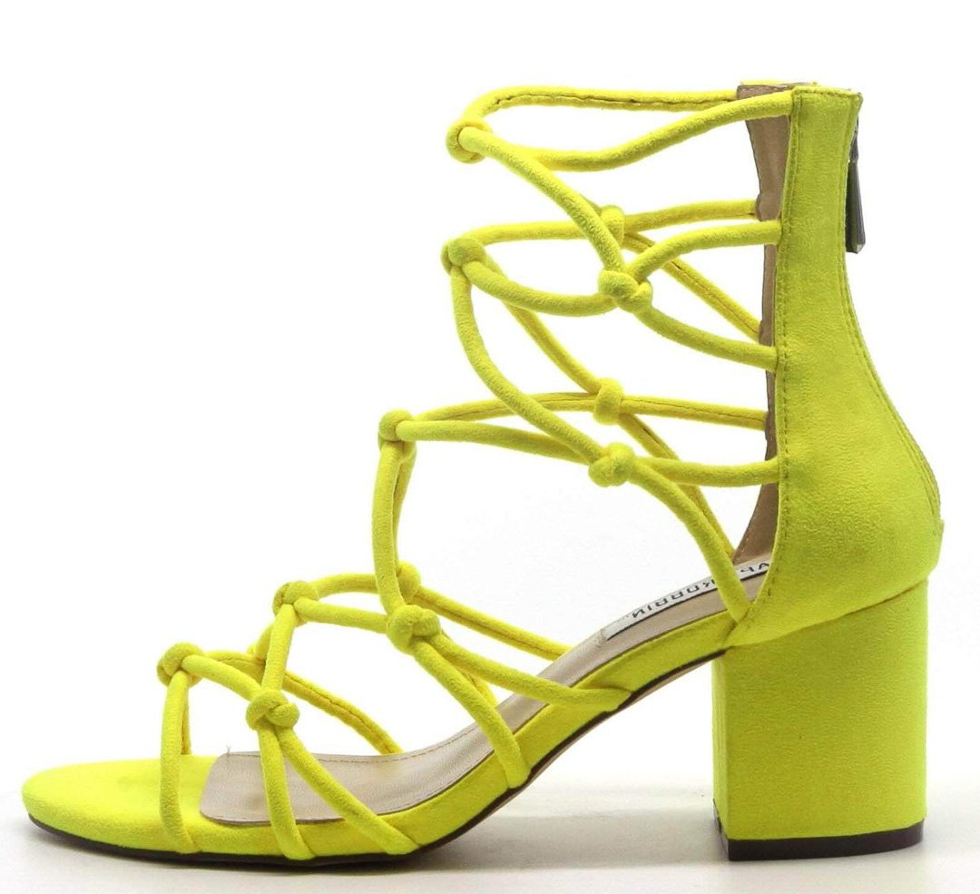 828a4fb1597 Connection Yellow Knot Caged Open Toe Chunky Heel