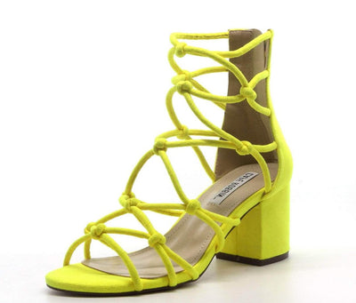 Connection Yellow Knot Caged Open Toe Chunky  Heel - Wholesale Fashion Shoes