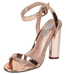 CONNIE2 ROSE GOLD METALLIC OPEN TOE HEEL - Wholesale Fashion Shoes