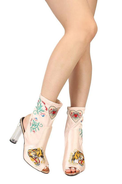 Alexandra238 Rose Gold Embroidered Peep Toe Lucite Heel Boot - Wholesale Fashion Shoes