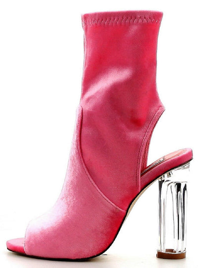 Connie6 Pink Suede Peep Toe Lucite Heel Boot - Wholesale Fashion Shoes