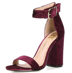 CONSTANCE01 WINE VELVET WOMEN'S HEEL - Wholesale Fashion Shoes