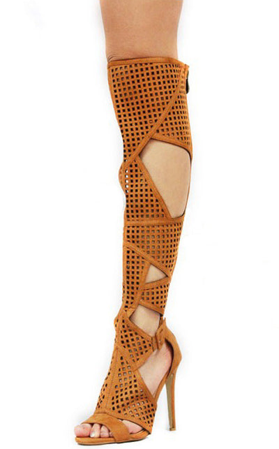 Corina1 Camel Perforated Geometric Knee High Stiletto Boot - Wholesale Fashion Shoes