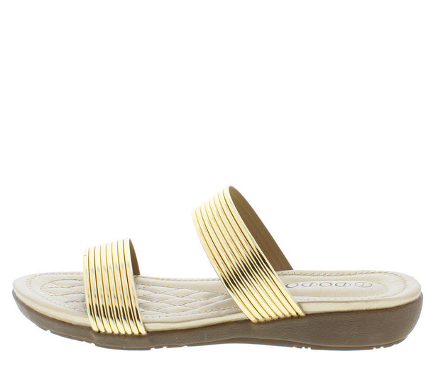 5ed482159 Cr68112 Gold Metallic Slide on Sandal