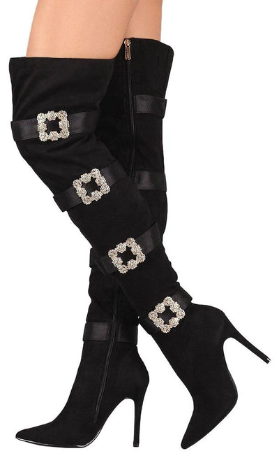 Cruise48 Black Crystal Buckle Over The Knee Boot - Wholesale Fashion Shoes