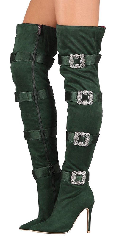 Cruise48 Emerald Crystal Buckle Over The Knee Boot - Wholesale Fashion Shoes