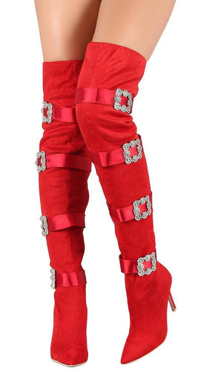 Cruise48 Red Crystal Buckle Over The Knee Boot - Wholesale Fashion Shoes