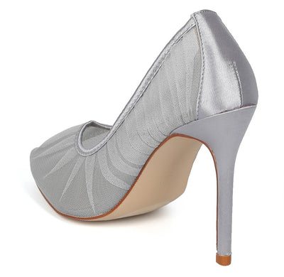 Cruise5 Silver Gathered Tulle Satin Pointed Toe Heel - Wholesale Fashion Shoes