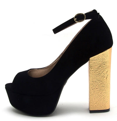 Crush11 Black Peep Toe Ankle Strap Platform Foiled Block Heel - Wholesale Fashion Shoes