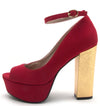 Crush11 Dark Red Peep Toe Ankle Strap Platform Foiled Block Heel - Wholesale Fashion Shoes