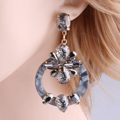 Crystal Drop Gray Statement Earrings - Wholesale Fashion Shoes