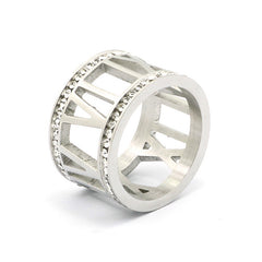 CRYSTAL SILVER ROMAN NUMERAL RING - Wholesale Fashion Shoes