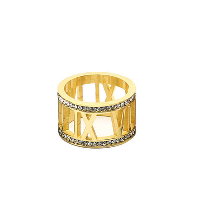 Crystal Gold Roman Numeral Ring - Wholesale Fashion Shoes