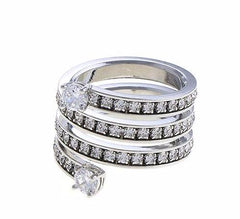 CRYSTAL SILVER TIP TRIPLE WRAP RING - Wholesale Fashion Shoes
