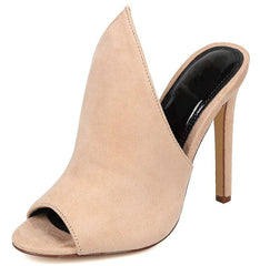 KATIE01 NUDE OPEN TOE POINTED UPPER MULE HEEL - Wholesale Fashion Shoes - 2