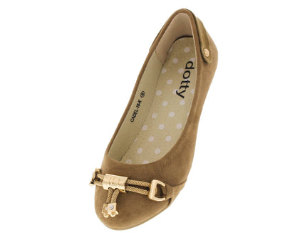 Cadel18k Taupe Metal Accent Kids Flat - Wholesale Fashion Shoes