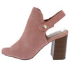 Caesar Blush Peep Toe Slingback Stacked Block Heel - Wholesale Fashion Shoes