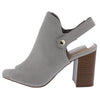 Caesar Grey Peep Toe Slingback Stacked Block Heel - Wholesale Fashion Shoes
