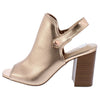 Caesar Rose Gold Peep Toe Slingback Stacked Block Heel - Wholesale Fashion Shoes