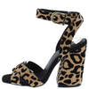 Cage12 Tan Black Leopard Suede Pu Chunky Block Heel - Wholesale Fashion Shoes