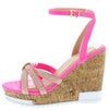 Cai Fuchsia Espadrille Strappy Open Toe Platform Wedge - Wholesale Fashion Shoes