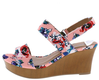 Cake03 Coral Multi Floral Fabric Open Toe Slingback Wedge - Wholesale Fashion Shoes