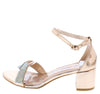 Cake03 Rose Gold Metallic Sparkle Strap Short Block Heel - Wholesale Fashion Shoes