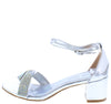 Cake03 Silver Metallic Sparkle Strap Short Block Heel - Wholesale Fashion Shoes