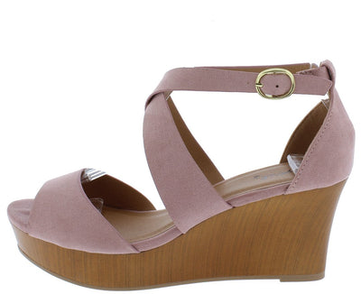 Cake06 Desert Rose Suede Cross Strap Peep Toe Wedge - Wholesale Fashion Shoes