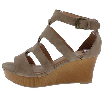 Cake07 Taupe Nubuck Pu Ope Toe Link Strap Wedge - Wholesale Fashion Shoes
