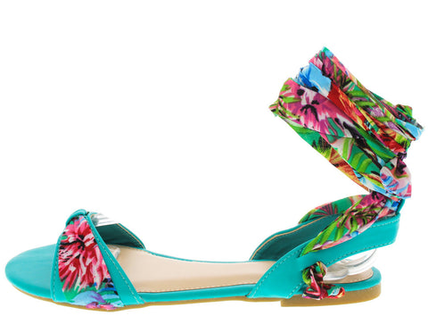 CALEB13 SEAFOAM RIBBON ANKLE SANDAL - Wholesale Fashion Shoes - 1