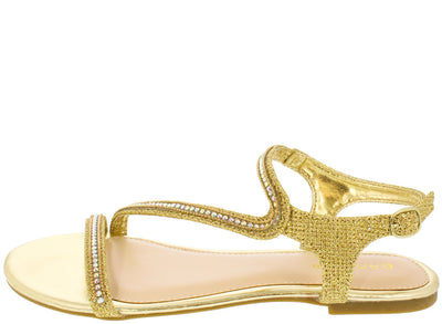 Caleb19 Gold Rhinestone Asymmetrical Sandal - Wholesale Fashion Shoes