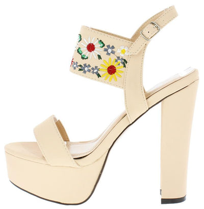 Trena298 Nude Nubuck Multi Embroidered Flower Heel - Wholesale Fashion Shoes
