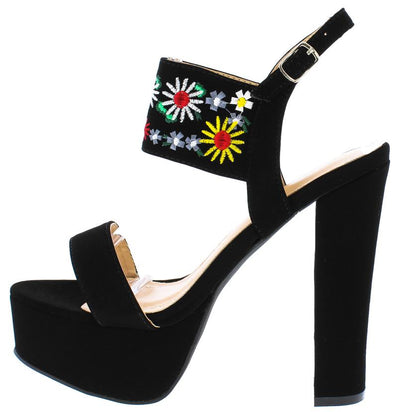 Trena298 Black Nubuck Multi Embroidered Flower Heel - Wholesale Fashion Shoes