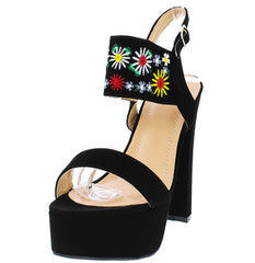 TRENA298 BLACK NUBUCK WOMEN'S HEEL - Wholesale Fashion Shoes