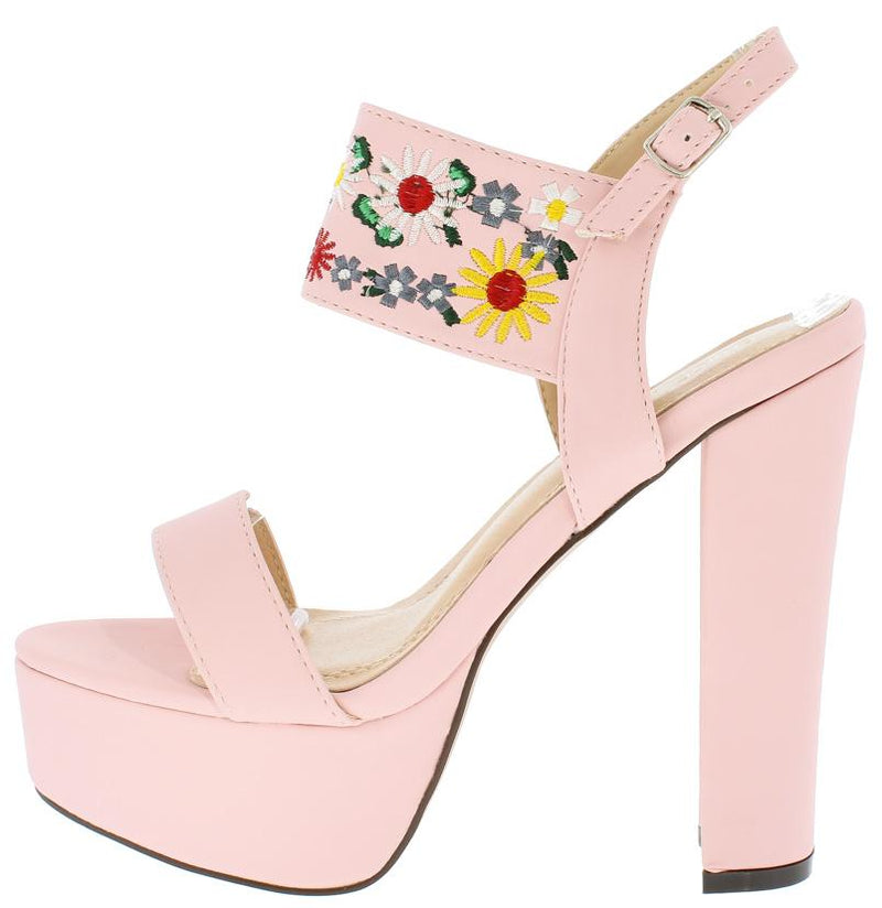 Trena298 light pink nubuck multi embroidered flower heels only trena298 light pink nubuck multi embroidered flower heels only 1088 wholesale fashion shoes mightylinksfo
