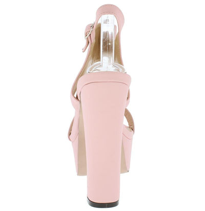 Trena298 Light Pink Nubuck Multi Embroidered Flower Heel - Wholesale Fashion Shoes