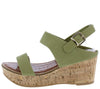 Calida Olive Open Toe Slingback Platform Cork Wedge - Wholesale Fashion Shoes