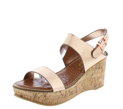Calida Rose Gold Open Toe Slingback Platform Cork Wedge - Wholesale Fashion Shoes