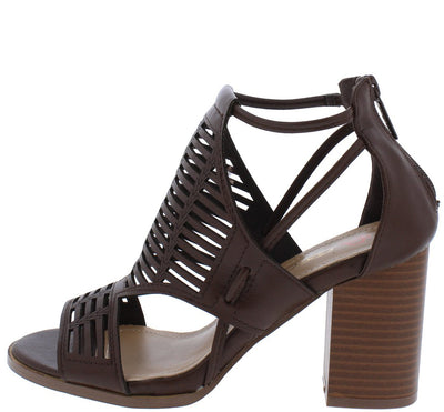 Calissa3 Brown Cut Out Peep Toe Laser Cut Chunky Heel - Wholesale Fashion Shoes