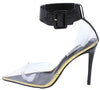 Calista Black Lucite Pointed Toe Ankle Strap Stiletto Heel - Wholesale Fashion Shoes