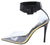 Calista Black Lucite Pointed Toe Ankle Strap Stiletto Heel