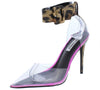 Calista Leopard Lucite Pointed Toe Ankle Strap Stiletto Heel - Wholesale Fashion Shoes
