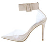 Calista Nude Patent Lucite Pointed Toe Ankle Strap Stiletto Heel - Wholesale Fashion Shoes