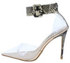 Calista Snake Lucite Pointed Toe Ankle Strap Stiletto Heel - Wholesale Fashion Shoes