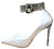 Calista Snake Lucite Pointed Toe Ankle Strap Stiletto Heel