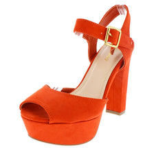CALLME09V ORANGE SUEDE OPEN TOE SLINGBACK ANKLE STRAP PLATFORM HEEL - Wholesale Fashion Shoes